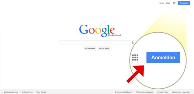 """Zu www.google.de navigieren und dort rechts oben auf """"Anmelden"""" klicken"""
