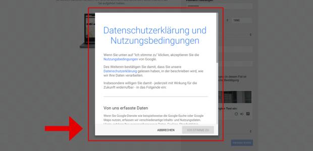 Nun erscheinen die Nutzungsbedingungen und die Datenschutzerklärung von Google