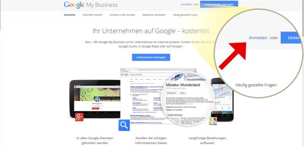 """Willkommen bei Google MyBusiness! Hier können Sie verwalten, wie Kunden Sie über die Google-Suche, in Google Maps oder auf Google+ finden  können. Klicken Sie oben rechts auf """"Anmelden""""."""