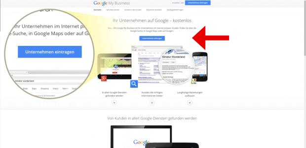 """Nun klicken Sie auf """"Unternehmen eintragen"""" - Sie werden nun zu Google+ weitergeleitet."""