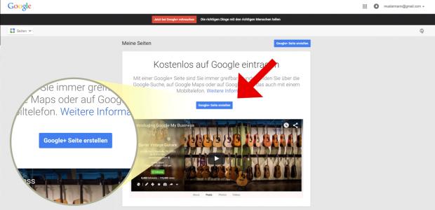 """Um ein Unternehmen für MyBusiness einzutragen, müssen Sie zunächst eine Google+ Seite erstellen. Klicken Sie nun einfach auf den Button """"Google+ Seite erstellen""""."""