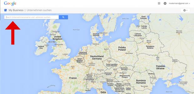 Es erscheint eine Karte mit Suchfeld. Geben Sie im Suchfeld Ihren Firmennamen und eventuell auch den Stadtnamen ein.