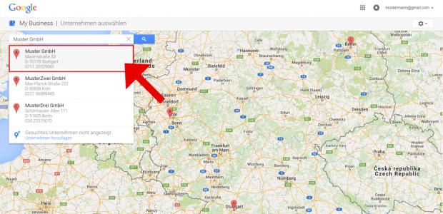 Sie haben den Google Maps Eintrag Ihres Unternehmens in Schritt 2 gefunden. Klicken Sie nun auf die Box mit den Adressinformationen.