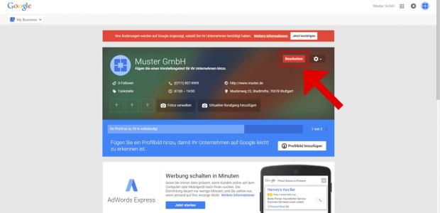 """Sie befinden sich nun in Ihrem Google MyBusiness Dashboard für Ihren Unternehmenseintrag. Klicken Sie auf den roten Button """"Bearbeiten""""."""