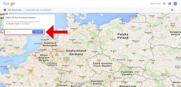 """Geben Sie den Verifizierungscode (PIN) in das entsprechende Feld ein und klicken Sie auf """"Absenden"""". Herzlichen Glückwünsch! Sie gehören zu den 5% aller Unternehmen in Deutschland, die Google+Local effektiv nutzen."""