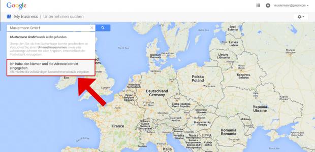 """Sie haben den Google Maps Eintrag Ihres Unternehmens in Schritt 2 nicht gefunden. Klicken Sie nun auf die graue Box mit dem Inhalt """"Ich möchte die vollständigen Unternehmensdetails eingeben"""" um Ihre Firma zu ergänzen."""